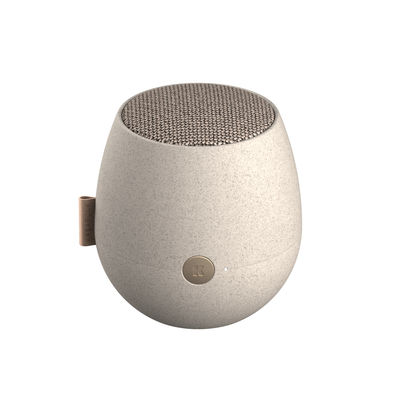 Trends - Stay home - aJAZZ CARE Portable Bluetooth speaker - / Ø 10 x H 11 cm by Kreafunk - Speckled grey - Plastic, Recycled polyester fabric, Wheat straw fibre