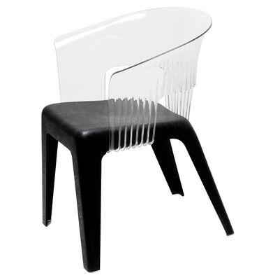 Möbel - Stühle  - Madeira Sessel - Skitsch - Rückenlehne transparent - Sitzfläche schwarz - Mélange de bois recyclé et de polypropylène, Polykarbonat