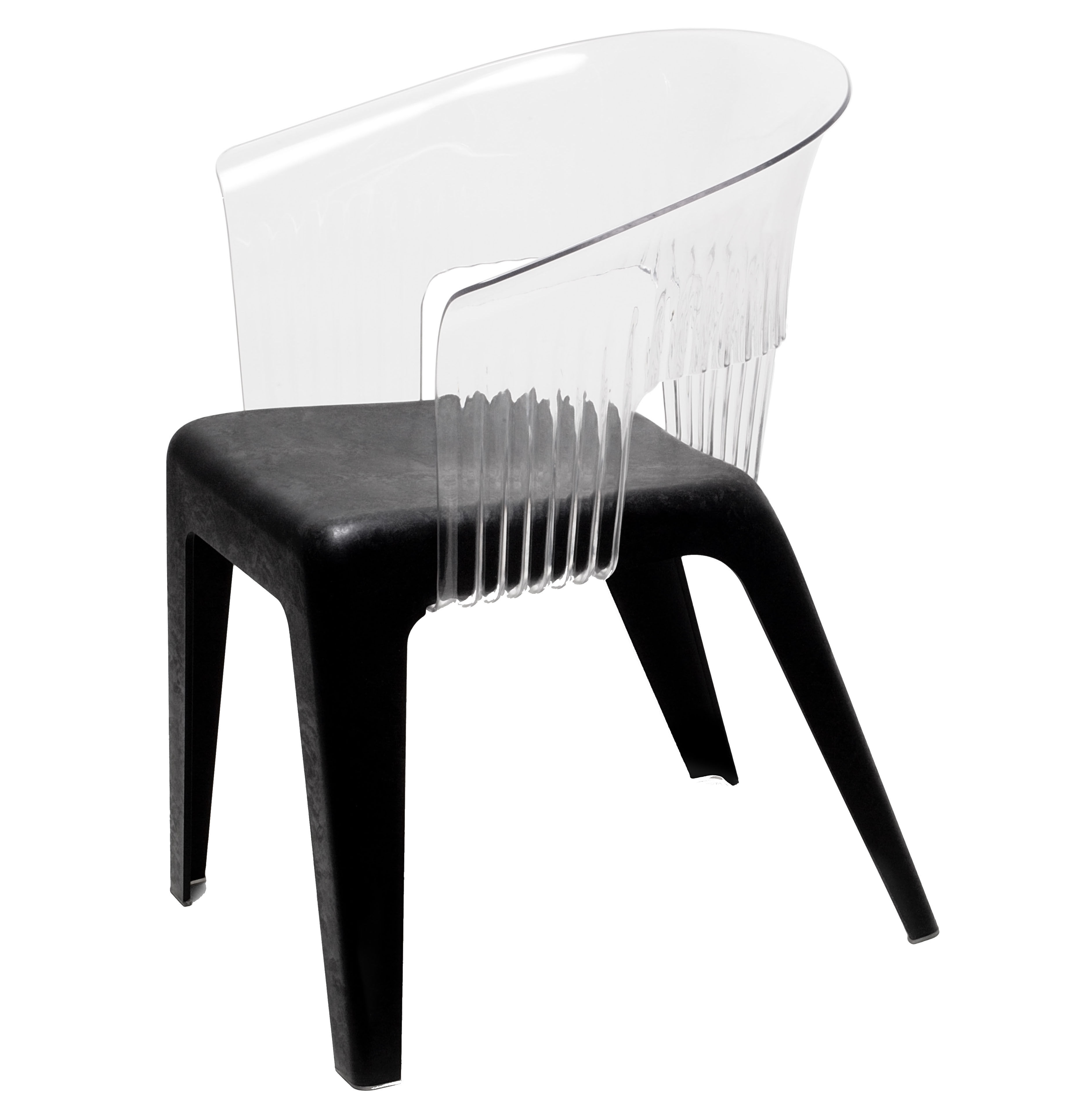 Möbel - Stühle  - Madeira Sessel - Skitsch - Rückenlehne transparent - Sitzfläche schwarz - Fibres de bois, Polykarbonat, Polypropylen