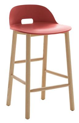 Image of Sgabello da bar Alfi / H 80 cm - Base frassino - Emeco - Rosso - Materiale plastico/Legno