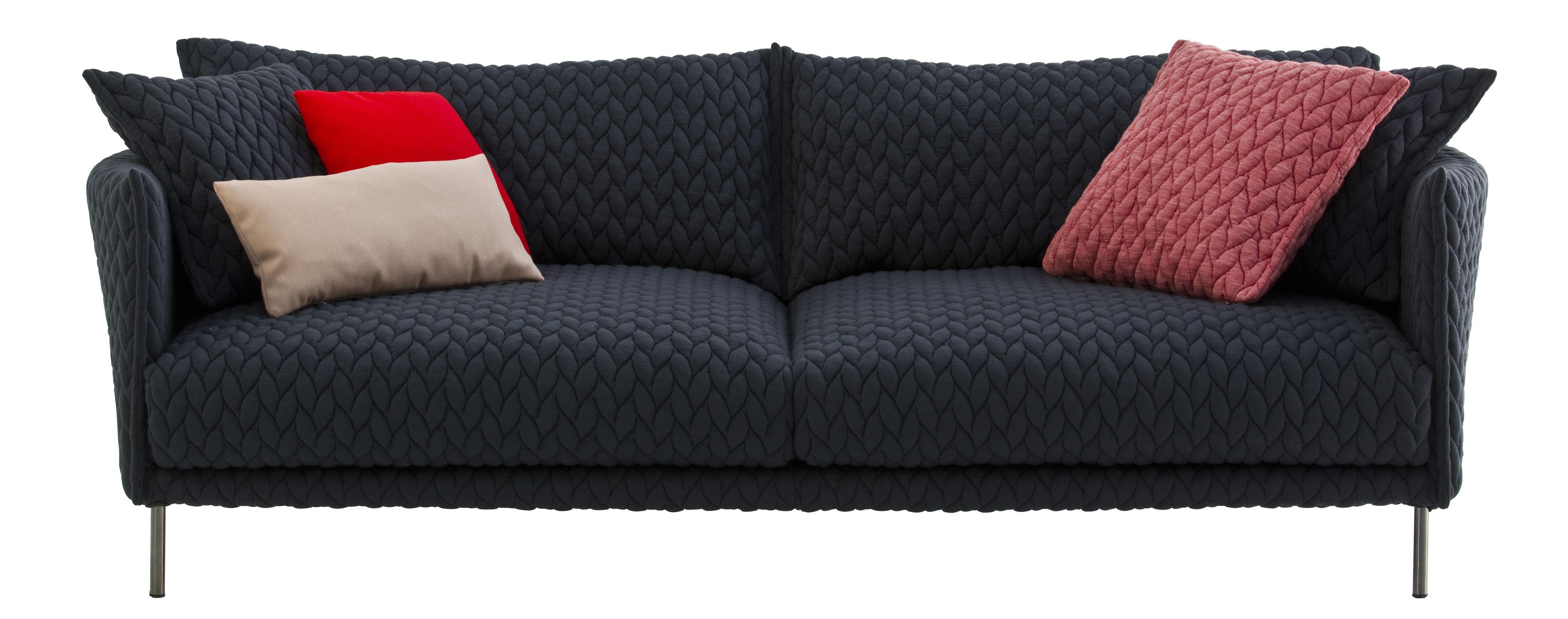 Möbel - Sofas - Gentry Sofa / L 240 cm - mit Stoffbezug - Moroso - Bezug dunkelgrau-blau / Füße dunkelgrau - Gänsedaune, Gewebe, lackierter Stahl, Polyurethan-Schaum