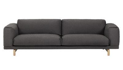 Möbel - Sofas - Rest Sofa / 3-Sitzer - mit Baumwoll-Bezug - Muuto - Dunkelgrau / Bezug Baumwolle - Baumwolle, Eiche