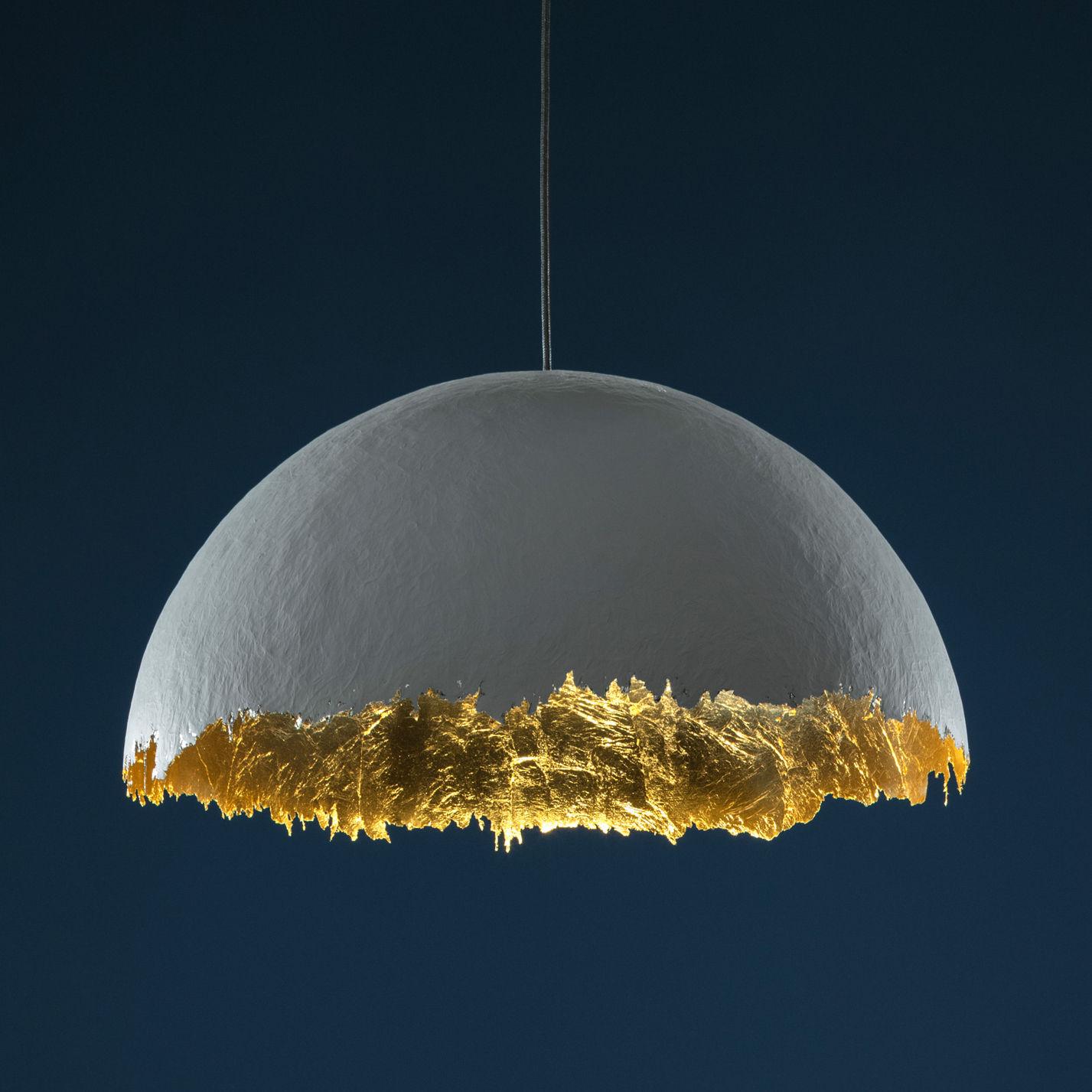 Illuminazione - Lampadari - Sospensione Suspension PostKrisi 49 - / Ø 80 cm di Catellani & Smith - Bianco / Interno oro - Fibra di vetro, Foglio d'oro