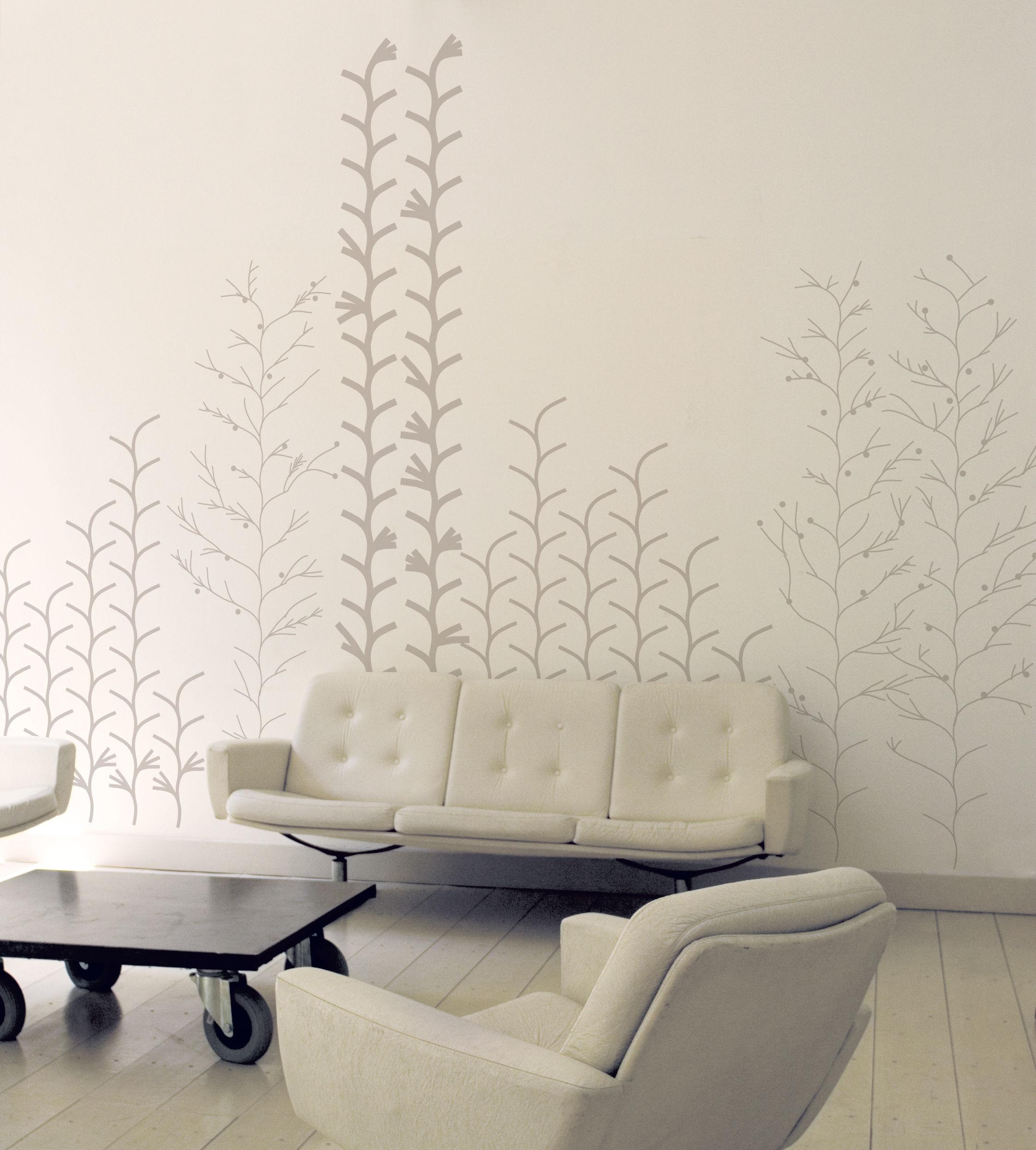 Dekoration - Stickers und Tapeten - Graphic plant Sticker - Domestic - Silber - Vinyl