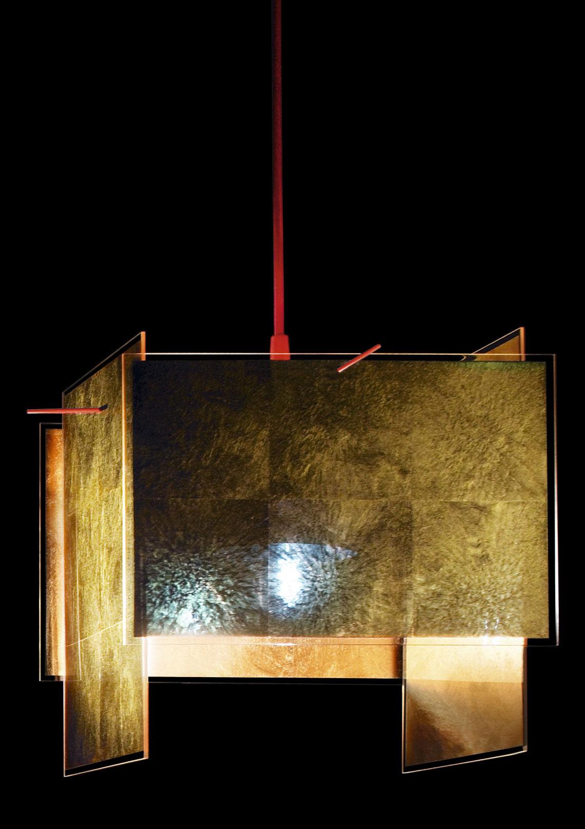 Luminaire - Suspensions - Suspension 24 Karat Blau / Feuille d'or - 26 x 26 cm - Ingo Maurer - Or & rouge / Câble L 450 cm - Feuille d'or, Plastique