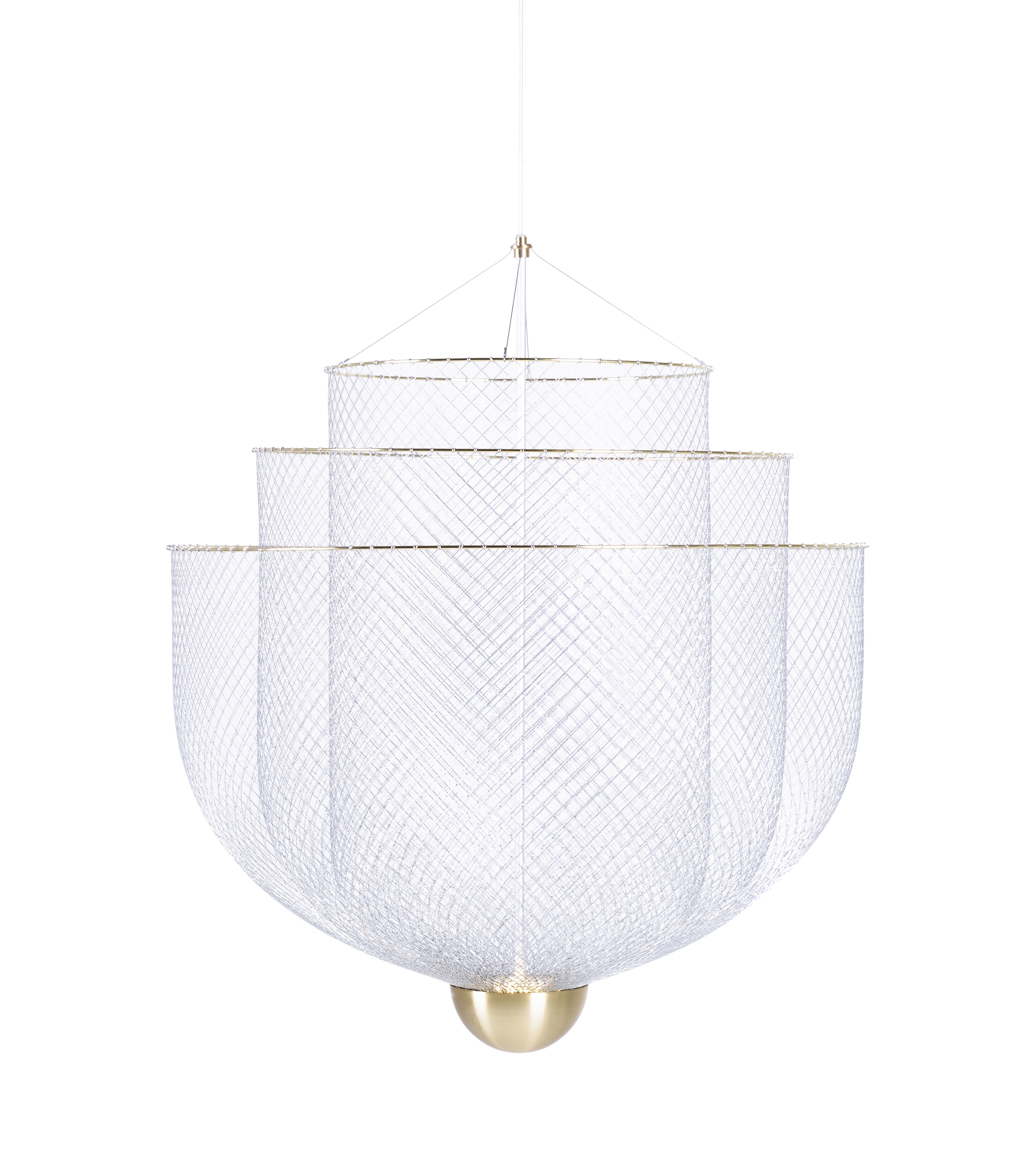 Luminaire - Suspensions - Suspension Meshmatics Small LED / Ø 58 cm - Grillagé - Moooi - Small / Acier & laiton - Grillage d'acier galvanisé, Laiton