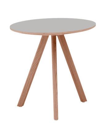 Mobilier - Tables basses - Table basse Copenhague n°20 / Ø 50 x H 49 cm - Hay - Gris / Pied chêne - Chêne teinté, Contreplaqué, Linoléum