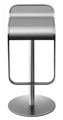 Tabouret haut réglable Lem Millerighe / Pivotant - Lapalma gris/argent en métal/matière plastique