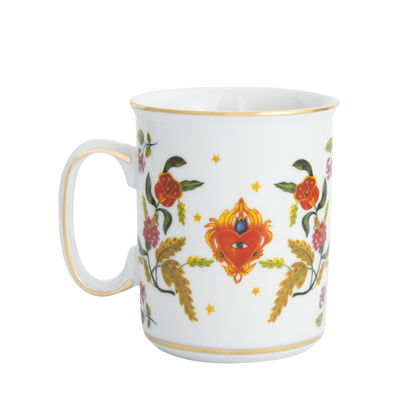 Tavola - Tazze e Boccali - Tazza Cuore Occhio - / Porcellana di Bitossi Home - Occhio fiore-cuore / Multicolore - Porcellana
