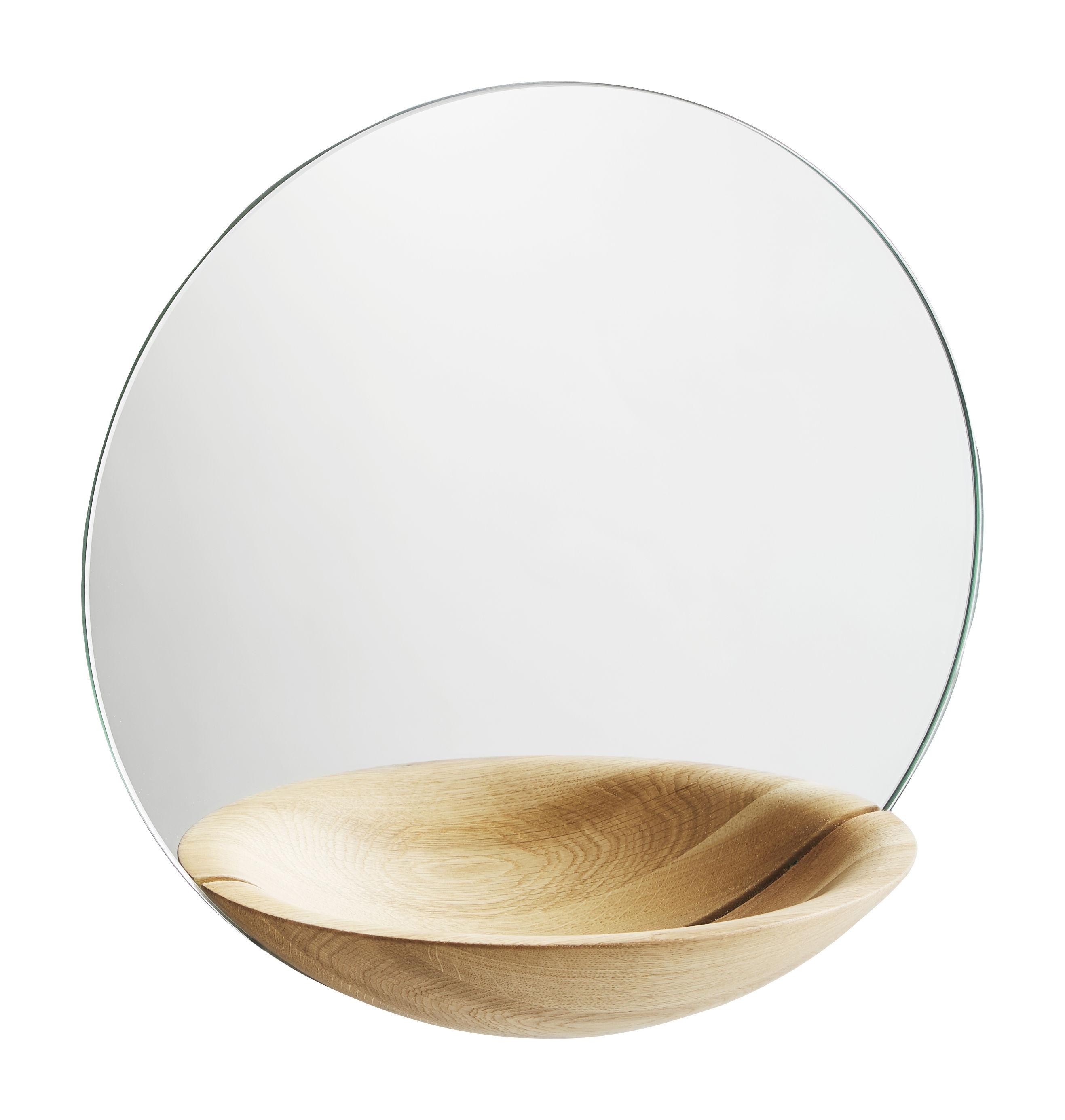 Dekoration - Spiegel - Pocket Large Wandspiegel / mit integrierter Ablage - Ø 32 cm - Woud - Eiche, hell - Glas, massive Eiche
