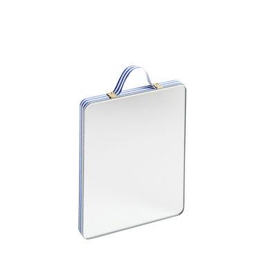 Dekoration - Spiegel - Ruban Small Wandspiegel / L 10 cm x H 12 cm - Hay - Blaue Streifen - Eichenholzfurnier, Glas, Messing, Polyester-Gewebe