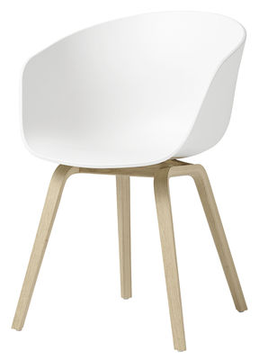 Furniture - Chairs - About a chair AAC22 Armchair - / Plastic & matt varnished oak by Hay - White / Matt varnished oak - Polypropylene, Varnished matte oak plywood