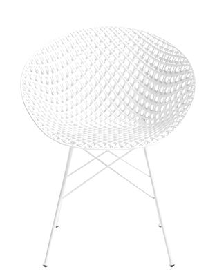 Furniture - Chairs - Smatrik Outdoor Armchair - / Plastic seat & metal legs by Kartell - White - Polycarbonate, Stainless steel