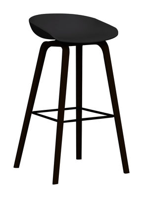 Furniture - Bar Stools - About a stool AAS 32 Bar stool - H 75 cm - Plastic & wood legs by Hay - Black & black stained wood base - Ashwood, Polypropylene
