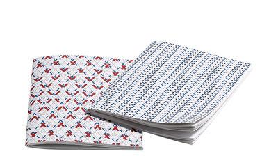 Accessori moda - Accessori ufficio - Carnet Line Dot Small / Set da 2 - 14 x 9,5 cm - Hay - Blu & rosso - Carta