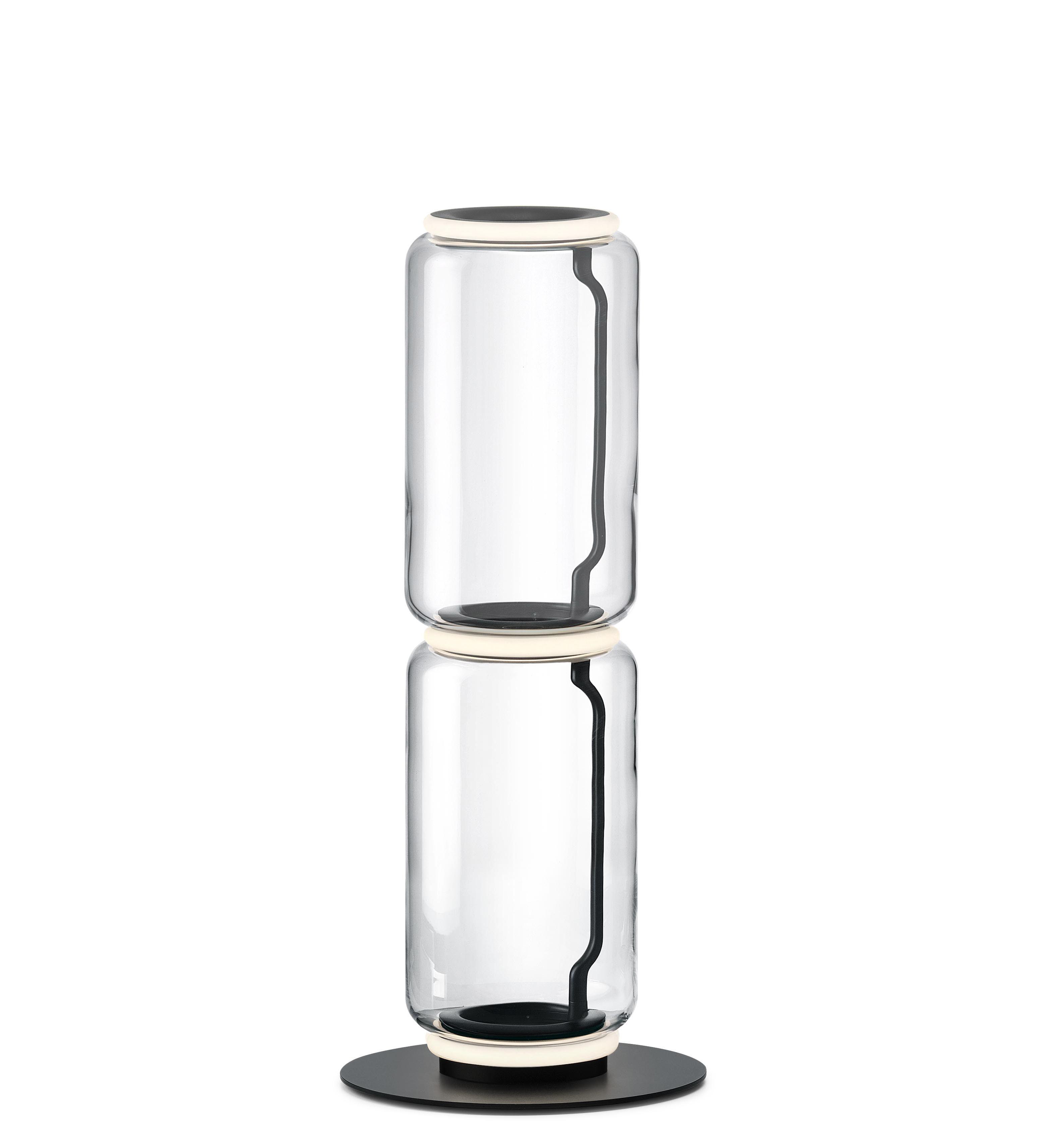 Leuchten - Stehleuchten - Noctambule Cylindre n°2 Bodenleuchte / LED - Ø 25 x H 95 cm - Flos - H 95 cm / Transparent - geblasenes Glas, Gussaluminium, Stahl