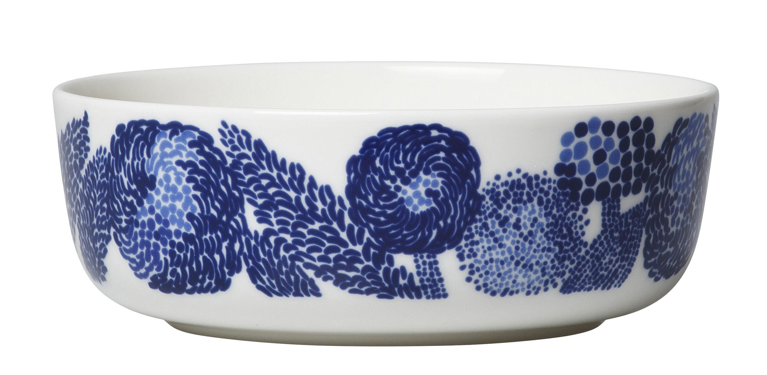 Arts de la table - Saladiers, coupes et bols - Bol Oiva Mynsteri / Ø 13 cm - Marimekko - Mynsteri / Blanc & bleu - Grès