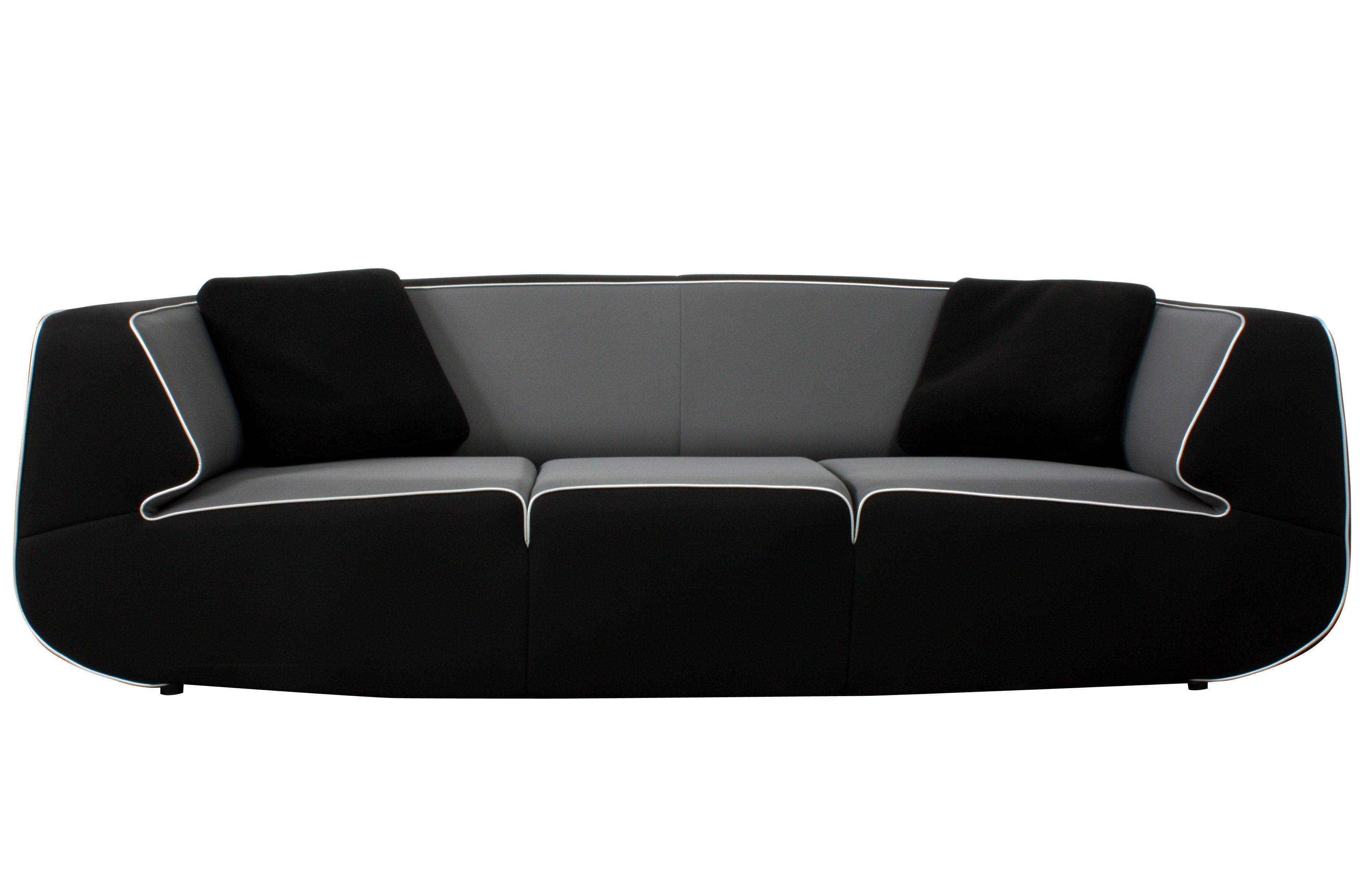 Mobilier - Canapés - Canapé droit Bump by Ora Ito / XL - 3 places - L 238 cm - Dunlopillo - Noir / Gris / Passepoil argent - Tissu