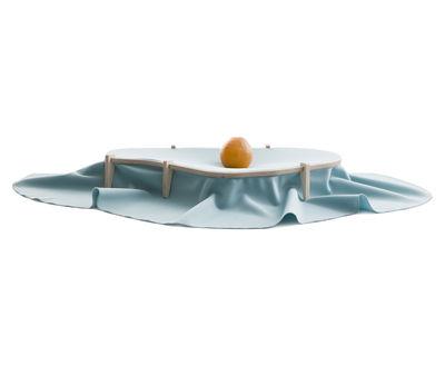 Centre de table Dress / 65 x 35 cm - En tissu - Moustache bleu en tissu/bois