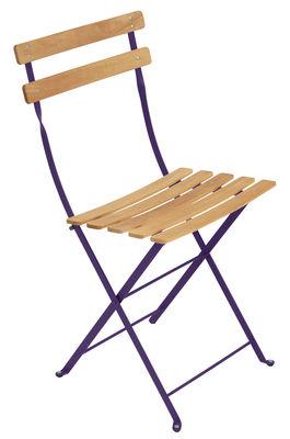 Chaise pliante Bistro / Métal & bois - Fermob bois,aubergine en bois