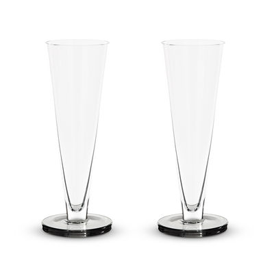 Tableware - Wine Glasses & Glassware - Puck Champagne glass - / Set of 2 - Mouth-blown glass by Tom Dixon - Transparent / Smoky base - Mouth blown glass