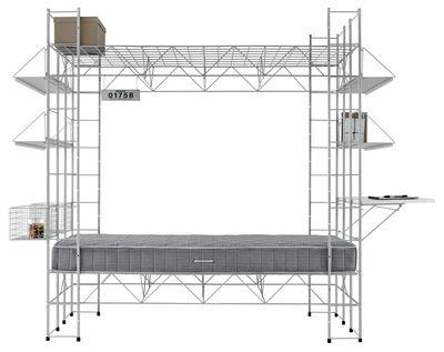 Furniture - Beds - Abitacolo Children bed - Desk and storage by Robots - Grey - Laminate, Varnished steel