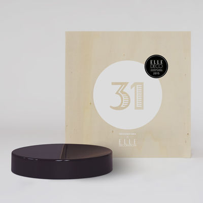 Coffret Designerbox#31 / Vide-poche Moitié - Sebastian Herkner - Designerbox bois,prune en céramique