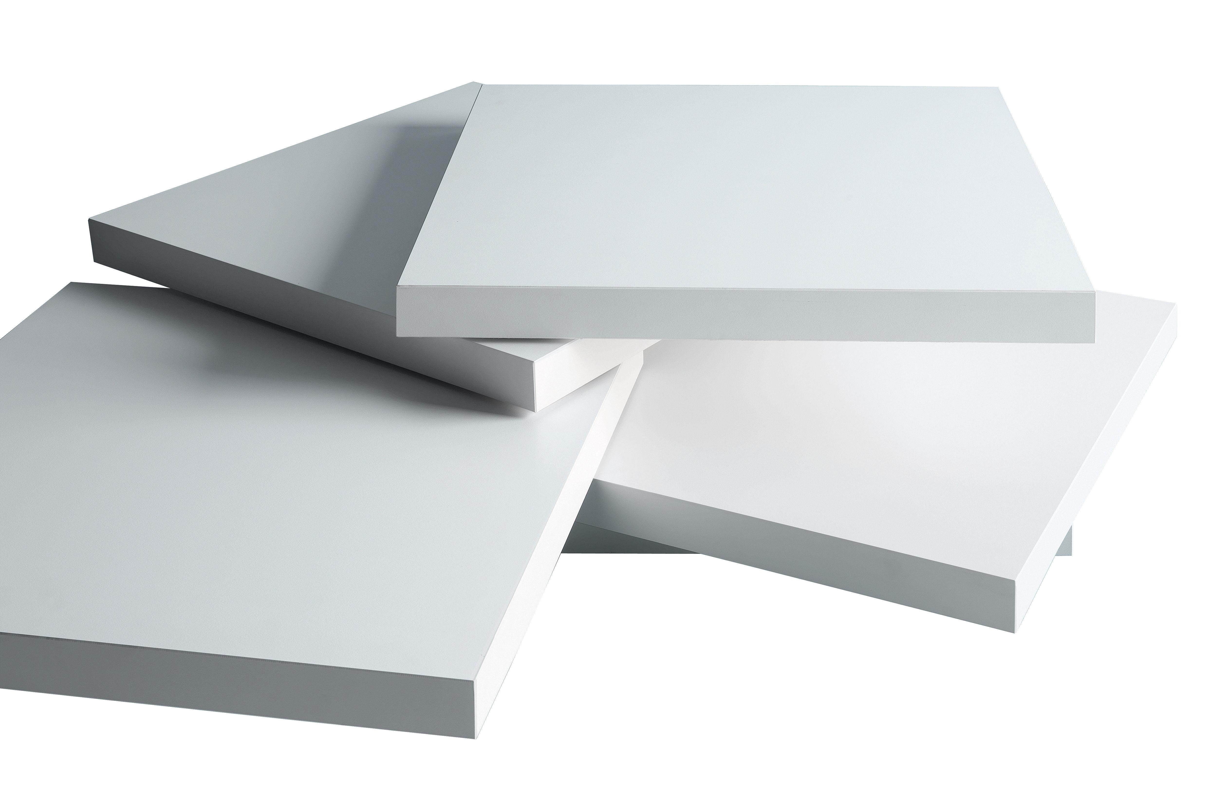 Möbel - Couchtische - Rotor Couchtisch rotierende Platten - Kristalia - weiß - Eiche, Laminat