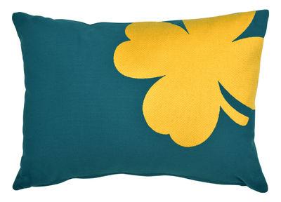 Interni - Cuscini  - Cuscino per esterno Trèfle - / 44 x 30 cm di Fermob - Blu anatra / Motivo giallo - Espanso, Tessuto