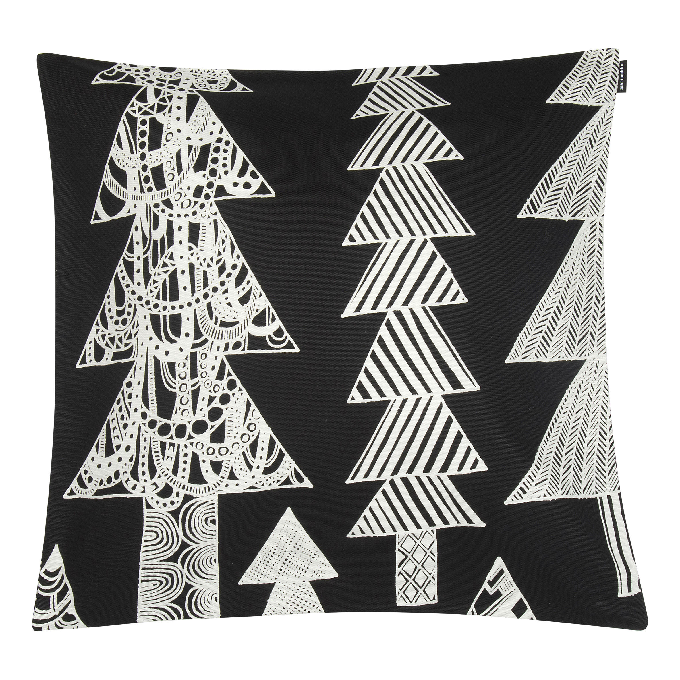 Decoration - Cushions & Poufs - Kuusikossa Cushion cover - / 45 x 45 cm by Marimekko - Kuusikossa / Black & white - Cotton