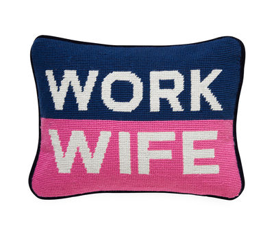 Decoration - Cushions & Poufs - Work Wife Cushion - / 30.5 x 23 cm - Hand-embroidered by Jonathan Adler - Navy blue & pink -  Duvet,  Plumes, Velvet, Wool