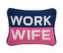 Work Wife Cushion - / 30.5 x 23 cm - Hand-embroidered by Jonathan Adler