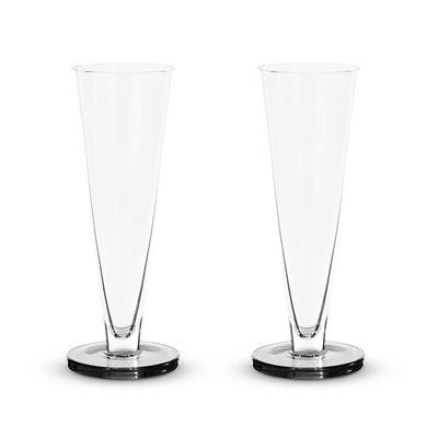 Tavola - Bicchieri  - Flûte da champagne Puck - / Set di 2  - Vetro soffiato a bocca di Tom Dixon - Trasparente / Base fumé - Vetro soffiato a bocca