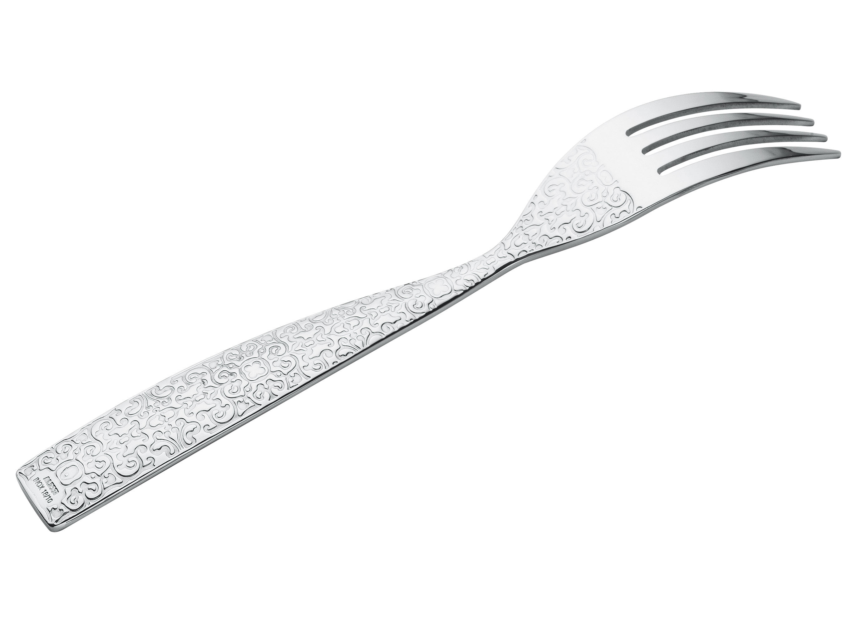 Tableware - Cutlery - Dressed Fork - Table fork by Alessi - Mirror polished steel - Stainless steel