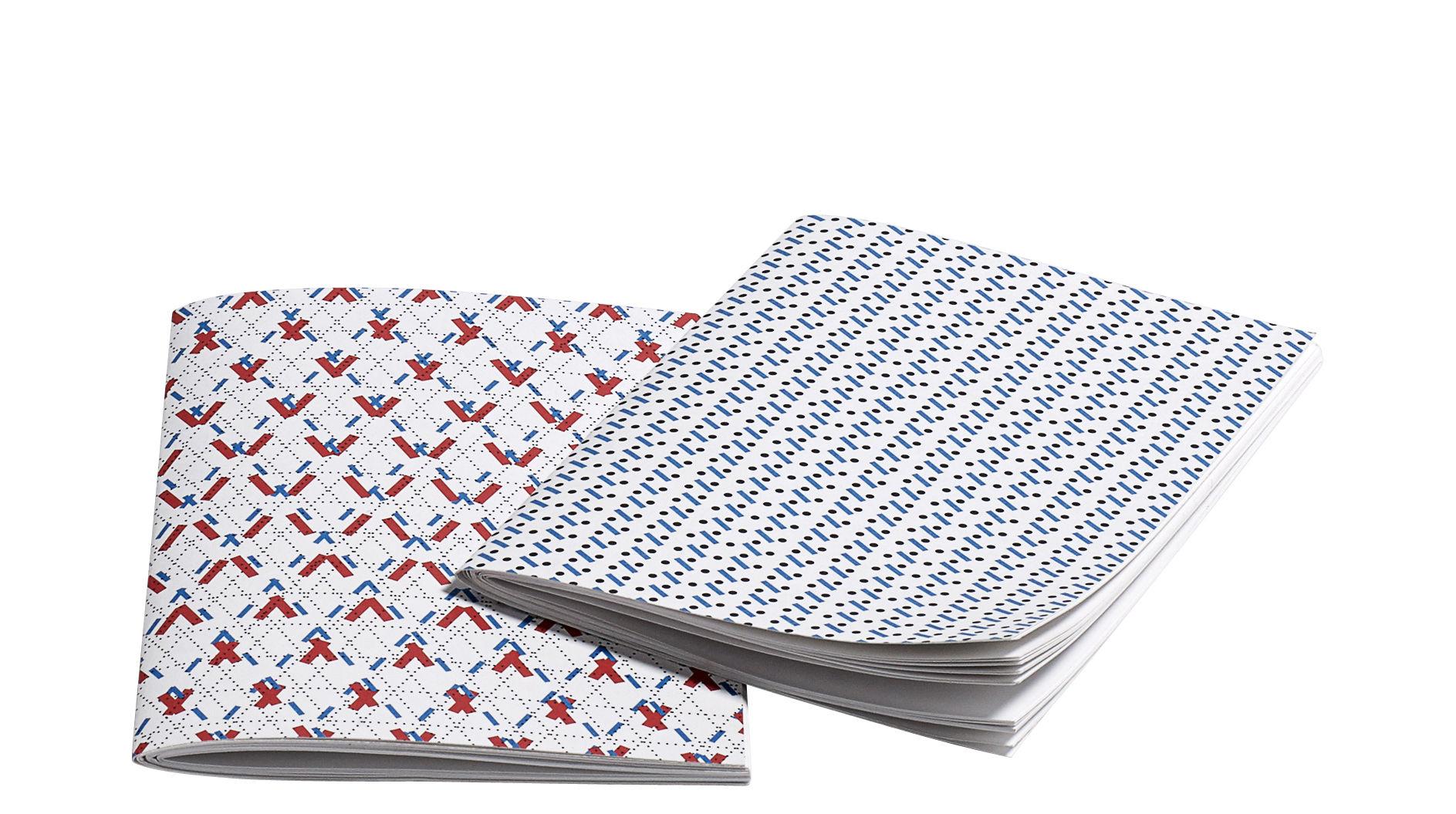 Accessoires - Accessoires für das Büro - Line Dot Small Heft / 2er-Set - 14 x 9,5 cm - Hay - Blau & rot - Papierfaser