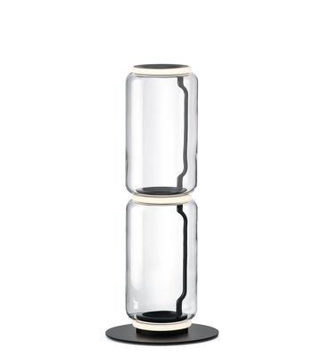 Lighting - Floor lamps - Noctambule Cylindre n°2 Lamp - / LED - Ø 25 x H 95 cm by Flos - H 95 cm / Transparent - Blown glass, Cast aluminium, Steel