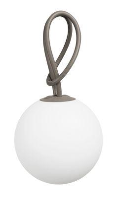 Leuchten - Tischleuchten - Bolleke Lampe ohne Kabel LED - für Haus und Garten - mit USB-Ladefunktion - Fatboy - Taupe - Polyäthylen, Silikon