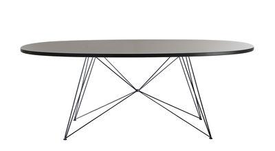 Möbel - Tische - XZ3 Ovaler Tisch / 200 x 119 cm - Magis - Schwarz / schwarze Beine - gefirnister Stahl, lackierte Holzfaserplatte