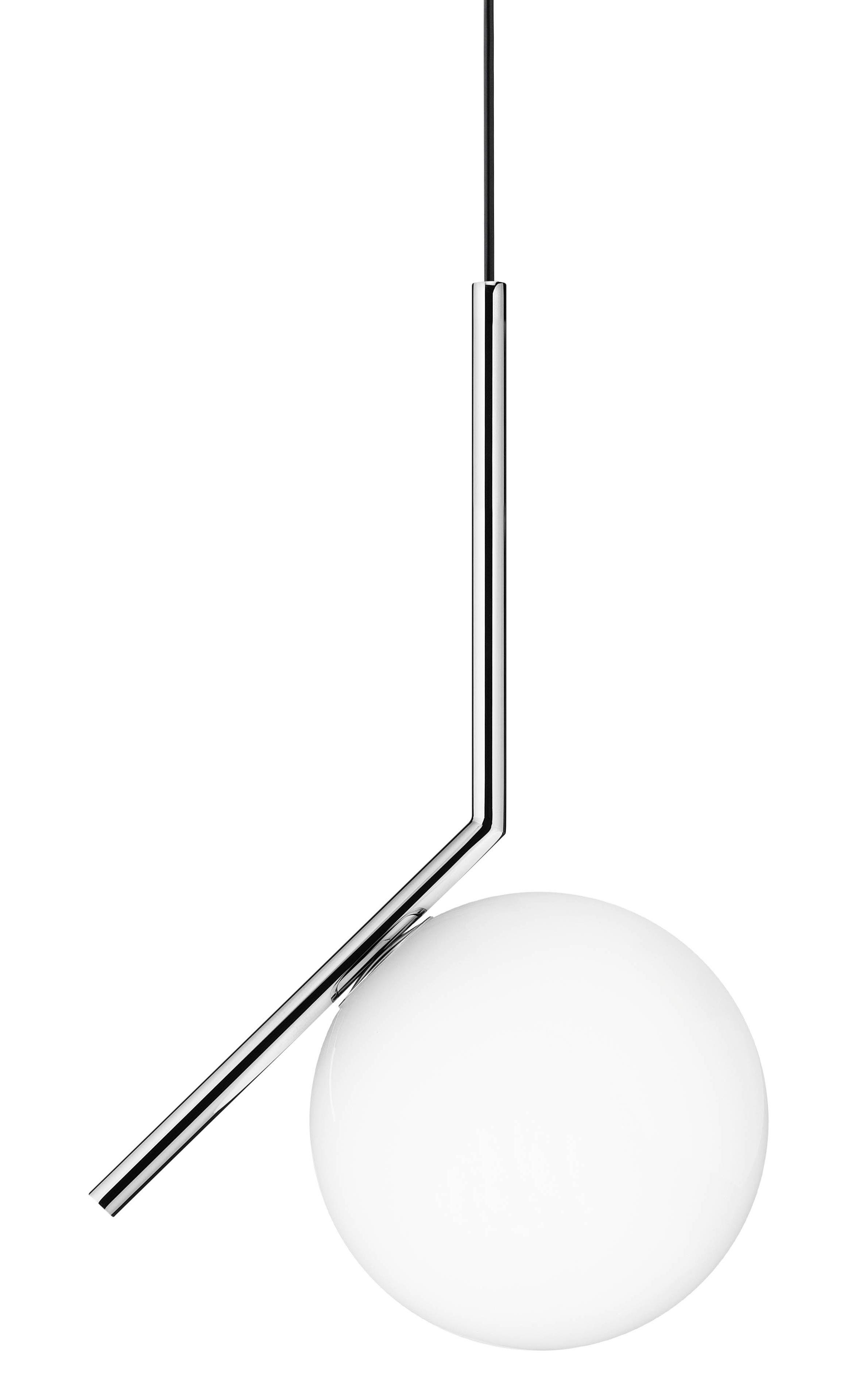 Lighting - Pendant Lighting - IC S1 Pendant - H 48,2 cm by Flos - Chromed - Blown glass, Chromed steel