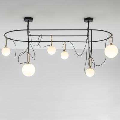 Lighting - Pendant Lighting - nh S5 Elliptic Pendant - / 6 mobile globes - 169 x 93 cm x H 97 cm by Artemide - H Black / Spheres: white & brass - Blown glass, Brushed brass, Metal