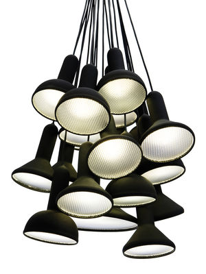 Lighting - Pendant Lighting - Torch Light Pendant - / 20 lampshades by Established & Sons - Black / Black cables - Moulded PVC with soft-touch finish, Polycarbonate
