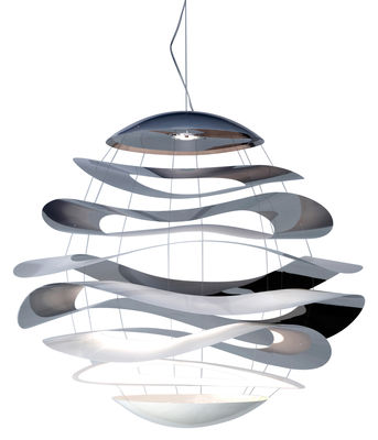 Leuchten - Pendelleuchten - Buckle Large Pendelleuchte LED Ø 120 cm - Innermost - Ø 120 cm - Edelstahl poliert & weiß - bemalter Stahl