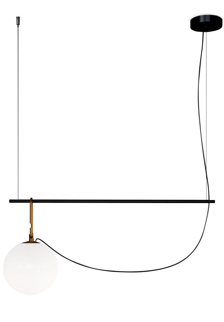 Leuchten - Pendelleuchten - nh S2 Pendelleuchte / Kugel Ø 22 cm - L 87 cm - Artemide - Schwarz & Messing - geblasenes Glas, gebürstetes Messing, Metall
