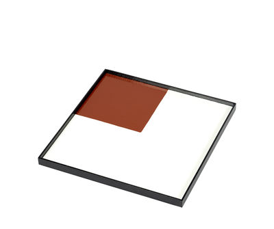 Plateau / Bois - 30 x 30 cm - Serax blanc/rouge en bois