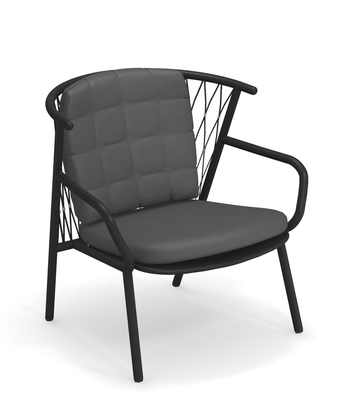 Arredamento - Poltrone design  - Poltrona bassa Nef - / Schienale H 83 cm di Emu - Nero - alluminio verniciato, Corde sintetiche