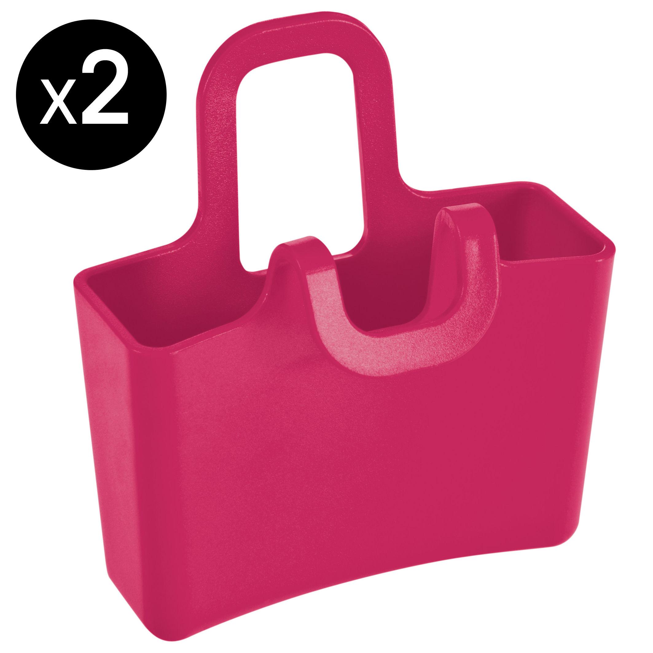 Cuisine - Pratique & malin - Porte-sachet de thé Lilli / Lot de 2 mini pochettes à suspendre - Koziol - Rouge framboise opaque - Matière plastique