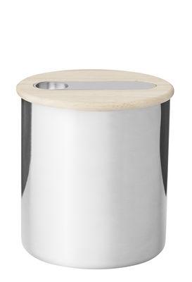 Pot hermétique Scoop / Pour café - Cuillère intégrée - Stelton acier poli,bois naturel en métal