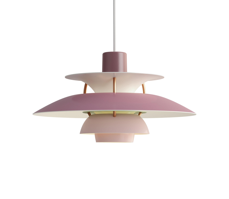 Illuminazione - Lampadari - Sospensione PH5Mini - / Ø 30 cm di Louis Poulsen - Rosa / Steli bronzo - Alluminio