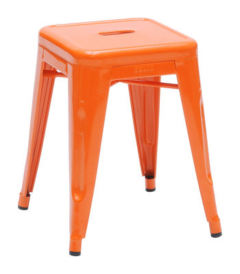 Furniture - Stools - H Stackable stool - Lacquered steel - H 45 cm by Tolix - Orange - Lacquered steel