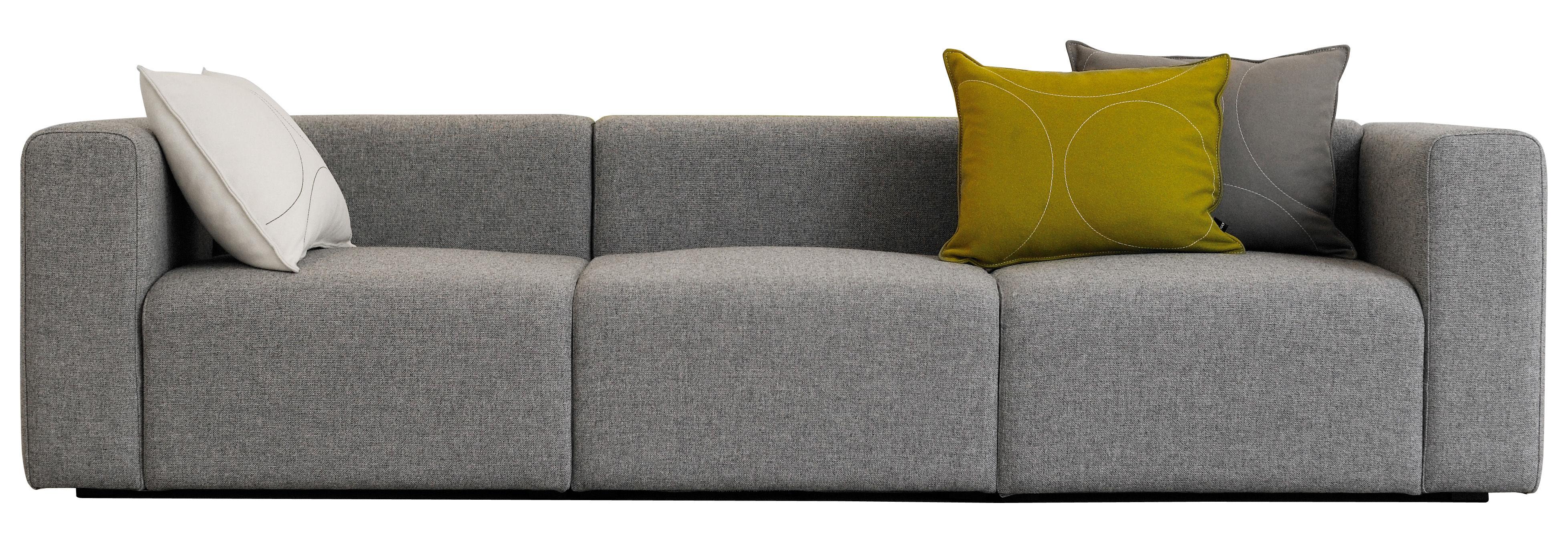 Furniture - Sofas - Mags Straight sofa - 3 seats / L 266 cm - Hallingdal fabric by Hay - Light grey - Fabric